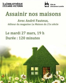 Affiche : photo artistique d'une maison artisanale miniature dans un champ de pissenlits réels. Logo de la Bibliothèque et de la Ville de L'Ancienne-Lorette.