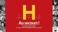 Affiche : gros H jaune, avec une ligne mince de rythme cardiaque, sur un fond rouge foncé. En bordure, 12 petits portraits des comédiennes et comédiens.
