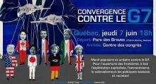 Affiche : les sept chef-fes d'État sont des marionnettes, les ficelles étant tirées par un homme en veston cravate. Manif populaire et unitaire contre le G7, pour l'ouverture des frontières, à bas l'exploitation capitaliste, l'extractivisme, le colonialisme et les politiques sexistes et racistes. Info à Québec : repac.org