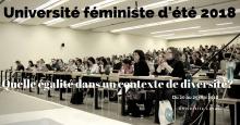 Affiche à partir d'une photo d'une salle de classe pleine : grande classe du pavillon DKN de l'université Laval.  Surtout des femmes, mais aussi quelques hommes.