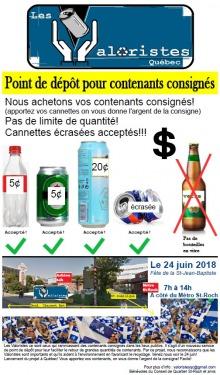 Affiche : deux mains tiennent une cannette. Photo de bouteille en plastique et cannettes de bière. Photo d'une foule tenant des drapeaux du Québec représentant la Fête nationale.