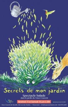 Affiche sur fond bleu-mauve : peinture d'une créature composée de feuilles vertes. Des feuilles plus pâles montent vers le ciel. Un cerf mange de l'herbe tout près. Les yeux de la créature le regarde.