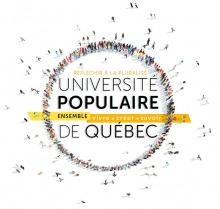 Affichette sur fond blanc : des gens, vue de très haut, forment un cercle. « Réfléchir la pluralité - Ensemble : vivre - créer - savoir ».