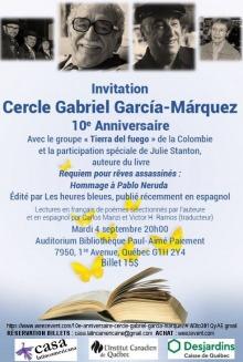 Affiche : portraits de quelques auteurs (littérature). photo d'un livre, logo CASA Latino-américaine ; Institut Canadiens de Québec ; Desjardins, Caisse de Québec.