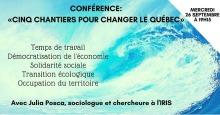 Affichette web sur fond d'océan bleu intense et mouvmenté. « Temps de travail ; Démocratisation de l'économie ; Solidarité sociale ; Transition écologique ; Occupation du territoire » avec Julia Posca (IRIS).