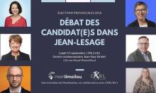 Affiche gris-mauve foncé : six portraits des candidatures, dont 4 femmes. Logo monLimoilou et CKRL.