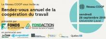 Bannière web : surtout de nombreux logos : Réseau COOP ; Fonds de solidarité FTQ ; FondAction ; La Coop fédérée ; Co-operators ; SAGE Assurances ; RISQ ; PoleCN.org ; Québec.