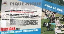 Affiche : des gens font le pique-nique sur du gazon. « Élections 2018 - Engagez-vous pour le communautaire ». Les détails sont transcrits dans le texte sur cette page.