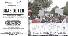 Affiche accompagnée d'une photo de manifestation familiale à Limoilou : des enfants, portant des filtres respiratoires blancs sur la bouche, tiennent une banderole blanche « Pour un milieu urbain plus sain ».