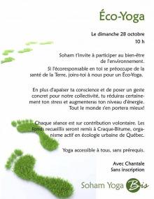 Affiche sur fond blanc qui décrit l'événement en texte. Dessins de pas de pieds, couleur verte olive. Logo de Soham Yoga Bis (le dernier mot est dans un cercle vert olive).
