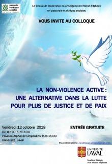 Affiche sur fond d'un ciel bleu et nuages blancs. Dessin d'une colombe transportant un rameau d'olivier dans son bec. Logo: Univ. Laval