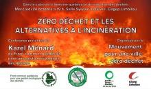 Affiche sur fond de flammes intenses. Logo des groupes.