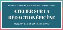 Affichette sur fond bleu émeraude, avec bordures rose et bleu ciel. « Atelier sur la rédaction épicène - suivi d'un 5 à 7 au bar Le Fou Alliés ».