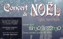 Affichette sur fond d'un ciel gris-mauve avec flocons de neige. « Concert de Noël » en lettrage très exotique avec des spirales.