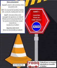 Affiche v2 sur fond gris foncé : cône orange routier, pancarte de signalisation rouge indiquant un autobus et avec le message « Arrêt : chantier pour un tarif social ! ».  Les nouveaux détails sont transcrits dans l'annonce ici.