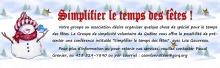 Dessin d'un bonhomme de neige sympathique, portant une tuque et foulard rouge, les bras (branches) levés. « Simplifiez le temps des fêtes ! » [lettrage gothique rouge]  Texte d'intro et coordonnées.