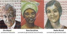 Exemple d'art : peinture de trois survivantes de génocides, chacun/chacune devant un mur de nombreux numéros. Elie Wiesel (Holocauste), Rose Burizihiza (Tutsi au Rwanda), Nadia Murad (Yézidis). Elles ne seront pas présentes.