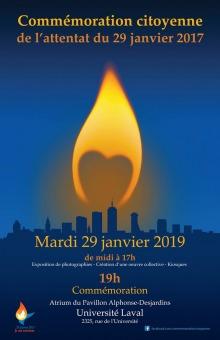 Affiche  flamme de chandelle jaune-orange sur fond bleu de la nuit. Ombre de la ville de Québec.