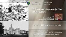 Affichette : à gauche, dessin d'une ancienne maison canadienne avec un cheval devant ; photo d'un grand bâtiment, style catholique, soit probablement l'hôpital Robert-Giffard aujourd'hui ; mini-portrait de la conférencière. Les détails sont transcrits dans l'annonce ici.