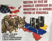 Photo d'une caricature politique : des soldats américains courant vers des barils de pétrole sur le Venezuela.