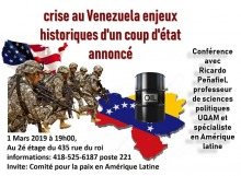 Affiche : dessin de soldats américains courant vers un baril de pétrole sur le Venezuela.
