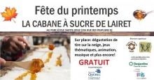 Affiche horizontale sur fond blanc avec photo de tire orange-brune versée sur de la neige. Feuille d'érable. Logo : Ville Québec ; Quartier du monde Lairet ; Caisse Desjardins ; Fondation pour les aînées et l'innovation sociale (FAIS).