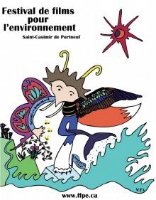 Affiche sur fond blanc : un personnage difforme ou multiforme, avec antennes jaunes, une aile de papillon, une autre aile d'oiseau, une queue de baleine. L'être marche sur un petit glacier sur de l'eau comme enflammée. Au-dessus, un soleil/lune rouge-mauve ou cramoisie, à six rayons.