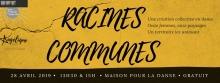 Affichette sur fond marbré orangé et brun. Une racine brune traverse l'image. « Une création collective en danse - 11 femmes - 11 paysages - Un territoire les unissant.»