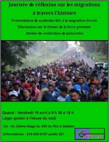 Affiche sur fond vert vif saturé : belle photo d'une très longue foule sur une route dans un pays d'Amérique latine. Des arbres le long de la route. Détails transcrits dans l'annonce ici.