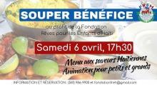 Affiche sur fond d'une photo d'un repas : bol de riz, légumes sautés, etc. Logo : l'acronyme FREH au-dessus d'un globe terrestre. Menu aux saveurs haïtiennes.