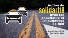 Affichette sur fond du pavé d'une route moderne, avec lignes oranges au milieu, qui mène dans le noir. Dessin de deux taxis.