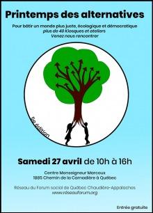 Affiche sur fond turquoise : grand cercle blanc avec un dessin au centre. Un arbre brun, à grand feuille vert, dot les branches sont des flèches courbées. Deux enfants, fille et garçon, tiennent les racines comme on tient un ballon qui s'envole.