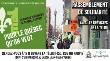 Affiche horizontale : à gauche, 1er mai écrit avec une fleur de lys blanche sur fond vert. « Pour le Québec qu'on veut ». À droite, photo de manifestant.es près de l'entrée de la TÉLUQ.