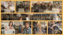 Affiche composée de six photos de participant.es à des moments différents, dont 50 % femmes. Une des photos sont les gens célébrant autour d'une bière.