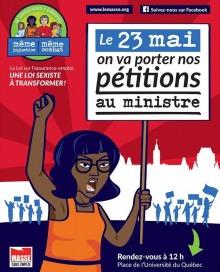 Affiche sur fond rouge : dessin d'une jeune femme noir, le bras levé, criant, avec une pancarte « Le 23 mai on va porter nos pétitions au ministre ».
