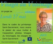 Affichette sur fond vert pomme : photo d'une dame souriante, cheveux blonds courts, lunettes, environ 40-50 ans. Logo : Ville de Québec ; Loisirs Saint-Sacrement.