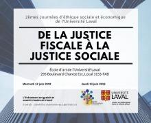 Affichette sur fond bleu ciel : comme si on voyait quatre gratte-ciels vus du sol. « De la justice fiscale à la justice sociale. Ouvert à tous et toutes ». Logo : IDÉA et Univ. Laval.