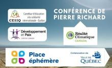 Affichette sur fond ciel bleu et désert : cinq logos. CESIQ, Dév. et paix, Réalité climatique Canada, Place éphémère, Ville de Québec.