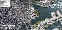 Affiche officielle du mouvement/projet : deux photos juxtaposées, vues du ciel. Une de la ville actuelle, grise, amalgame de rues. L'autre plus colorée qui inclut beaucoup d'eau et de verdure. « Du paradigme automobile à la résilience collective »