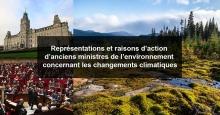 Affichette horizontale avec trois photos : parlement du Québec vu de devant ; chambre des communes britannique ; forêt avec rivière, sapins, mousses.