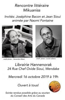 Affiche sur fond blanc : photos noir et blanc de Joséphine Bacon et Jean Sioui. Logo: dessin de l'ombre d'une femme qui écrit, des plumes en jaillit, dans un cercle orange.