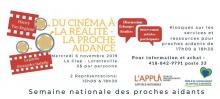 Affichette horizontale sur fond blanc avec dessin rouge/rose de billets de cinéma. Les détails sont transcrits dans l'annonce ici.