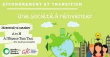 Affiche horizontale sur fond vert lime ou pâle : dessin d'une planète bleue avec des immeubles et arbres vert pomme autour. Dessin aussi des gens avec une lumière au-dessus (représentant une idée). Logo ATQ et CJC.