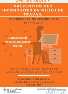 Affiche sur fond orange relativement foncé : dessin d'une femme travaillant devant un écran d'ordination. Logo des deux organismes. Toutes info sont transcrites dans l'annonce ici.