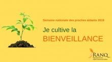 Affichette sur fond jaune : une plante pousse dans un tas de terre brune. « Je cultive la bienveillance »