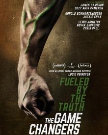 Affiche : un bras d'homme musclé, mais avec des veines vertes, sur fond mur beige-brun. « Fueled by the truth - The Game Changers ».
