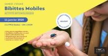 Affiche sur fond jaune et photo d'une jeune, à longue tresse, avec un insecte de type scarabée luisant sur sa main.