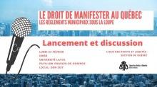 Affichette sur fond d'une photo bleuté d'une ville moderne. Dessin d'un micro. Logo de la Ligue des droits et libertés - section de Québec.