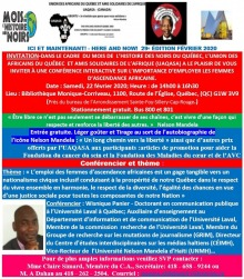 Affiche : logo du Mois de l'HIstoire des Noirs ; logo UAQASA soit le continent africain noir et une Fleur de lys ; photo de Nelson Mandela ; photo de la bibliothèque ; photo du conférencier : environ 35 ans, chauve, veston cravate. Tout le texte en blanc sur des zones de couleur: rouge, vert, bleu ciel, rose.