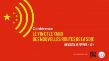 Affichette sur fond rouge vif : symbole du wiki, mais avec des étoiles rappelant le drapeau chinois. Logo : Voix Citoyenne ; CKIA.